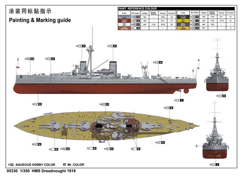 Hms Dreadnought 1918 05330 1 350 Series Trumpeter(china)