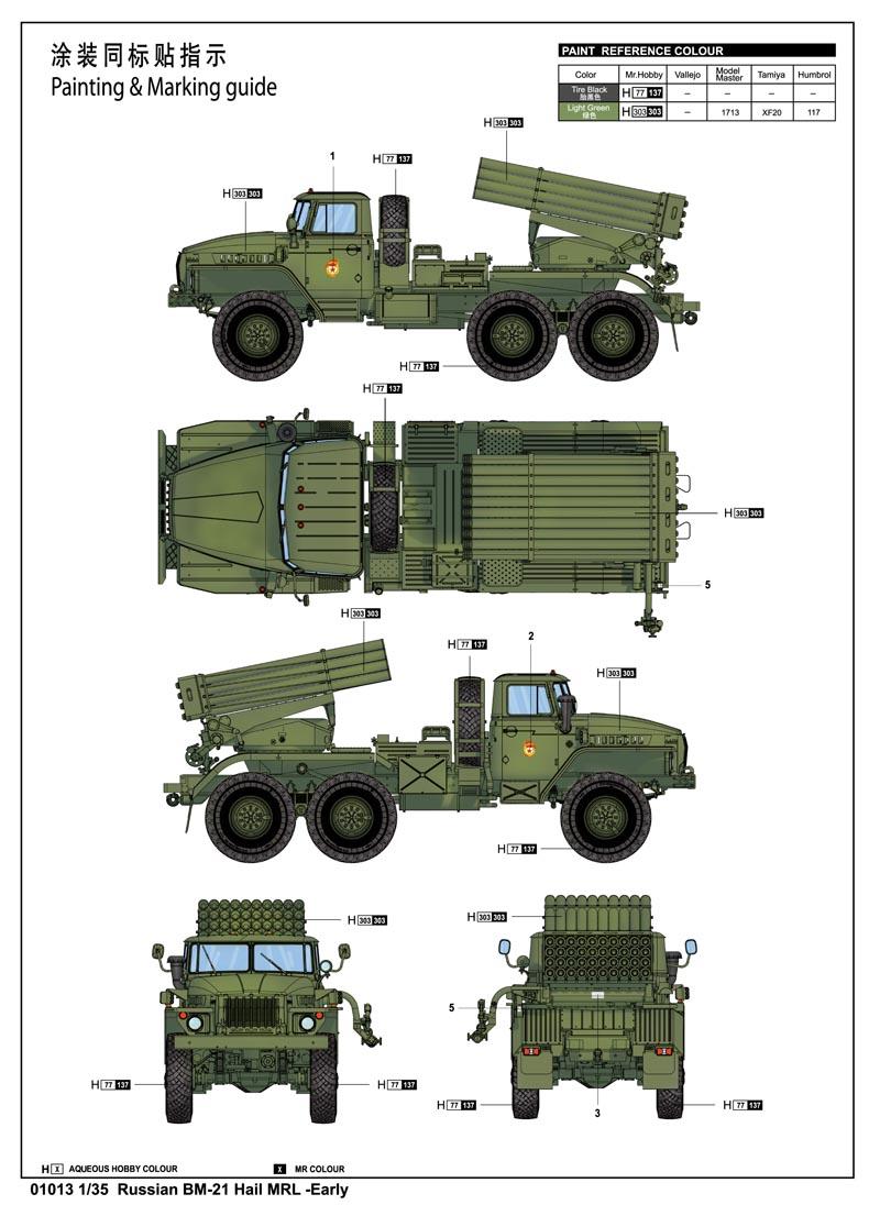 Ship A Car >> Russian BM-21 Grad Multiple Rocket Launcher 01013-1/35 ...
