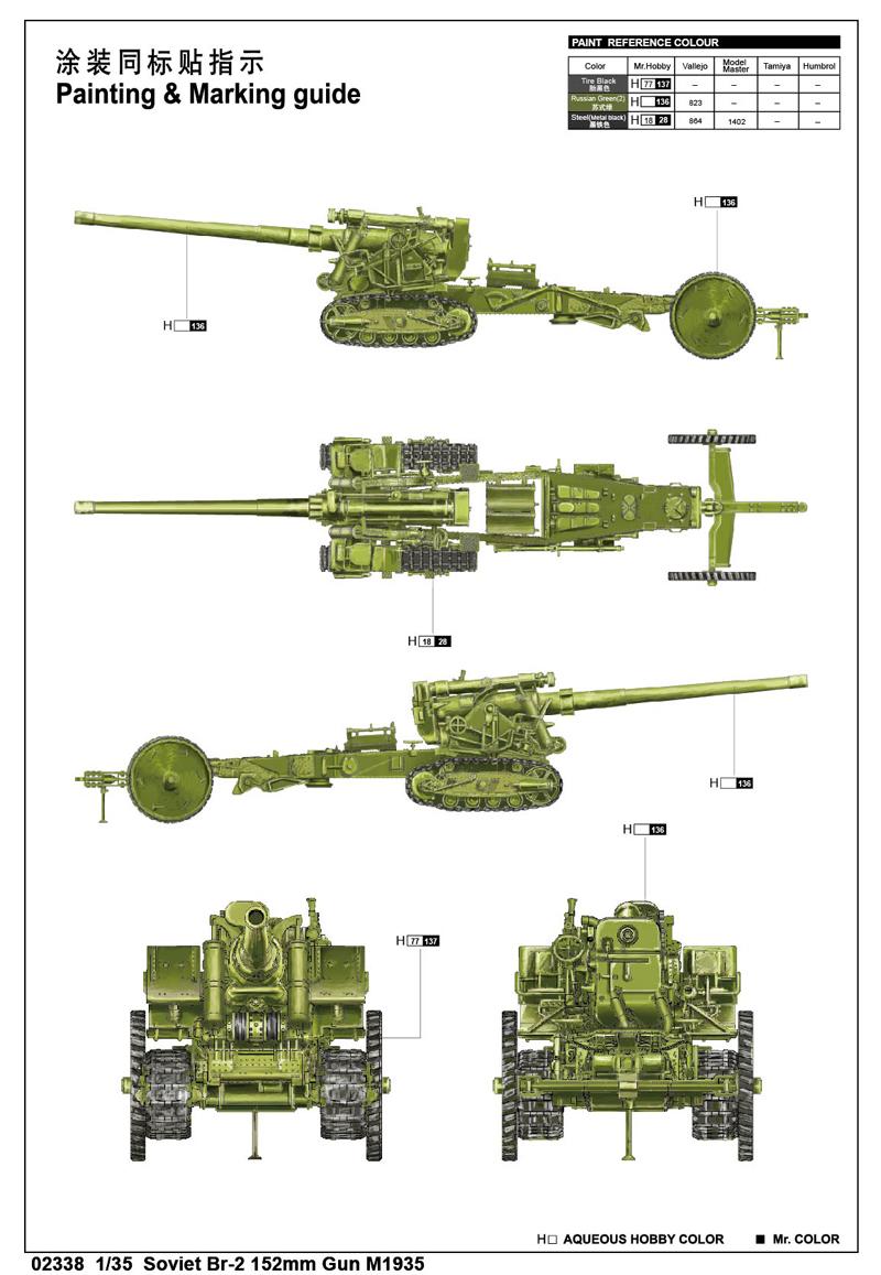 Br-2 152mm modèle 1935 1//35 Trumpeter
