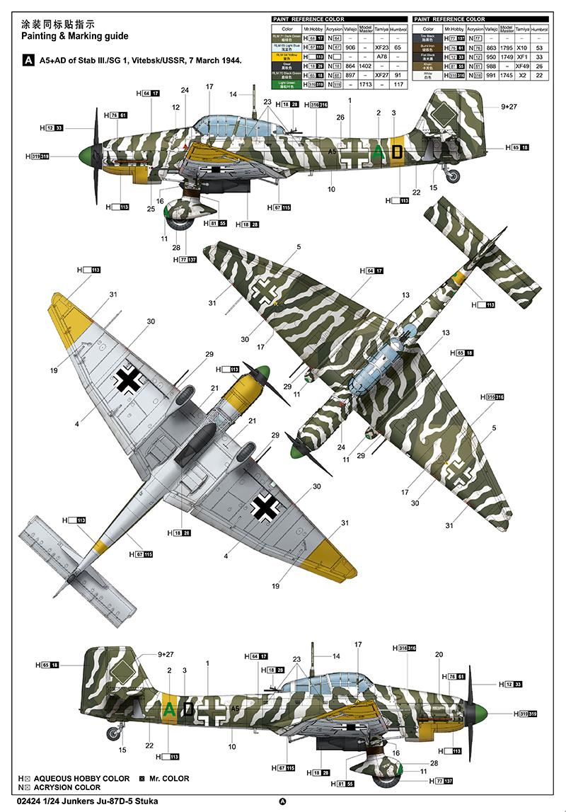 Trumpeter 02420/Maqueta de Junkers Ju de 87/A stuka